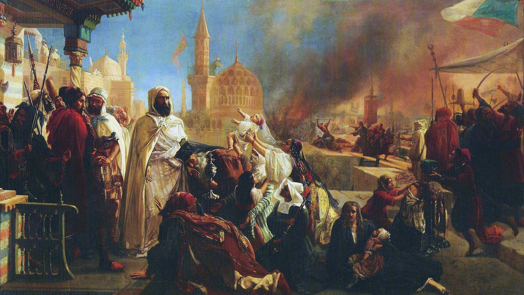 Ж.-Б. Хёйсманс. Абд аль-Кадир берёт под свою защиту христиан Дамаска, избиваемых друзами